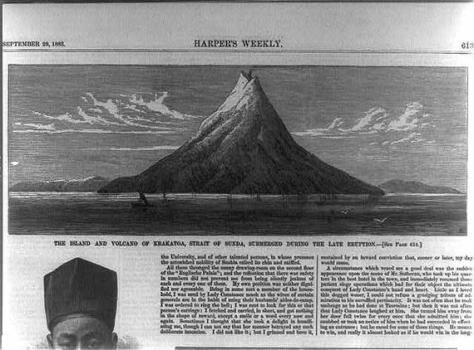 A photograph of an Indonesian newspaper dated one month after the eruption, showing a drawing of Krakatoa as it was before the eruption of 1883.