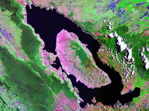 Landsat image of Lake Toba. The caldera lake is 100 km long and 30 km wide. Image credit: NASA.